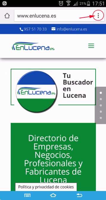 Añadir acceso directo a EnLucena.es, menú de Google Chrome