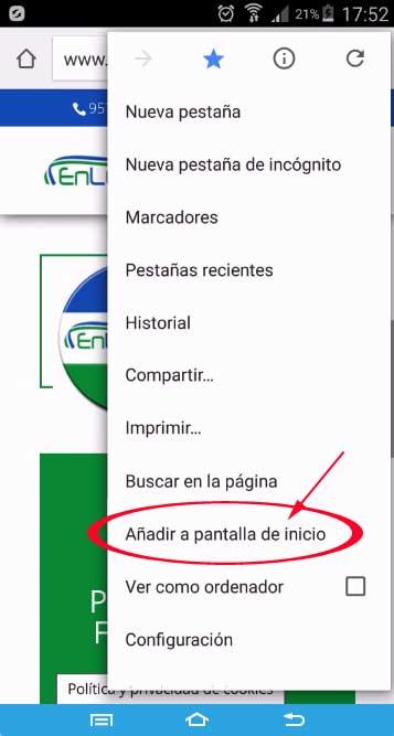 Añadir acceso directo a EnLucena.es, Añadir a pantalla de inicio