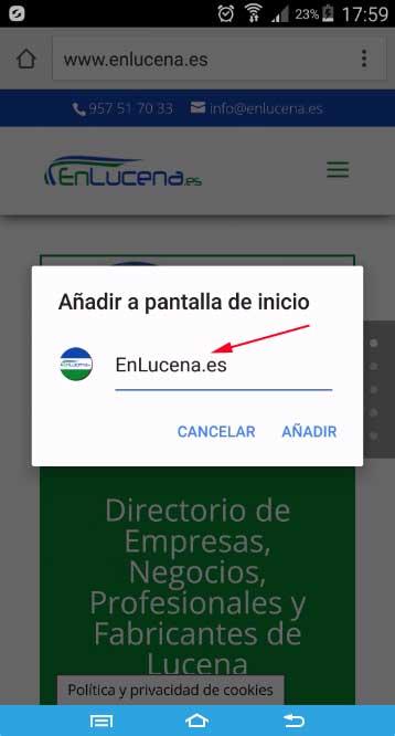 Añadir acceso directo a EnLucena.es, título
