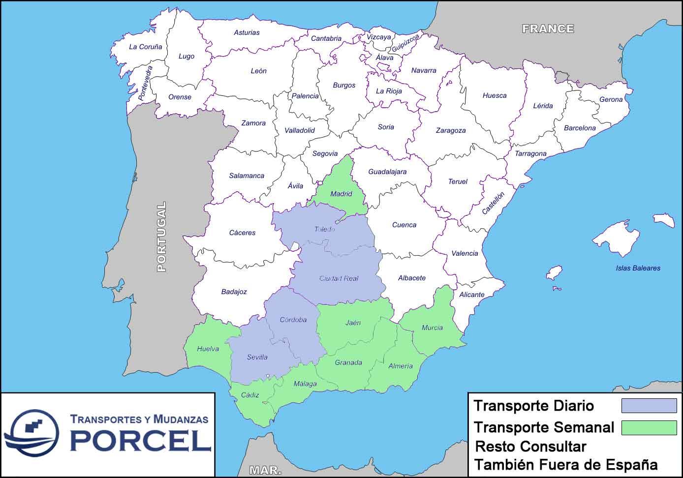Mapa Transportes y Mudanzas Porcel